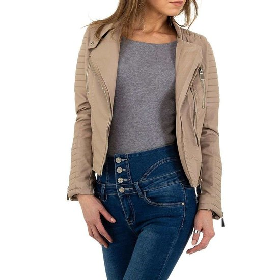 Stoere taupe bikervest in leatherlook.