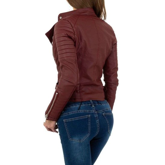 Stoere bordeaux bikervest in leatherlook.