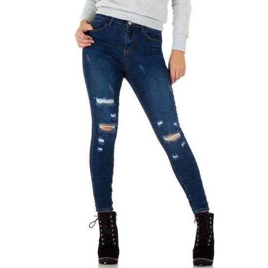 Destroyed blue jeans.