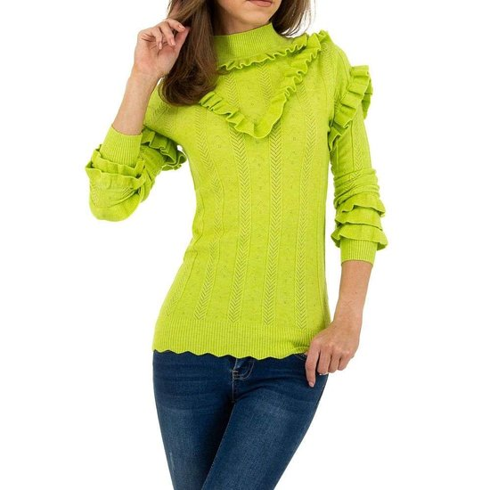 Modieuze fluo groene pullover met ruches.