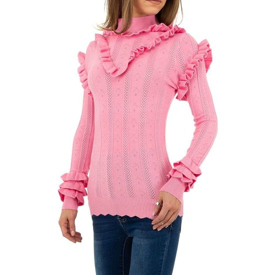 Modieuze roze pullover met ruches.