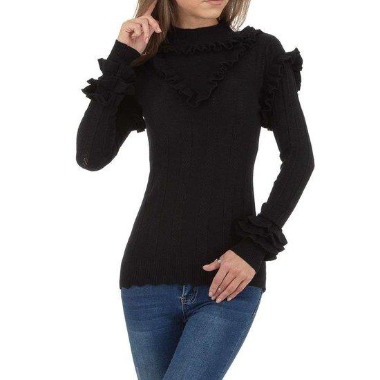 Modieuze zwarte pullover met ruches.