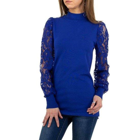 Klassieke blauwe pullover.