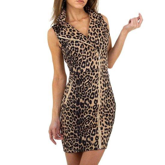 Trendy jurk in leopard look.