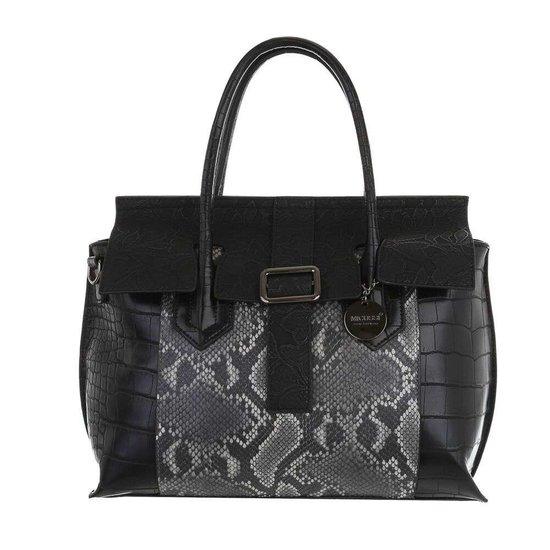Klassieke zwarte schoudertas met animal print.