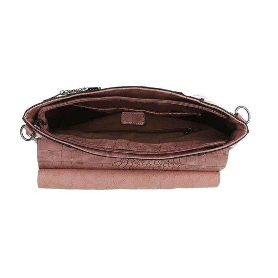 Klassieke bruine schoudertas met animal print.