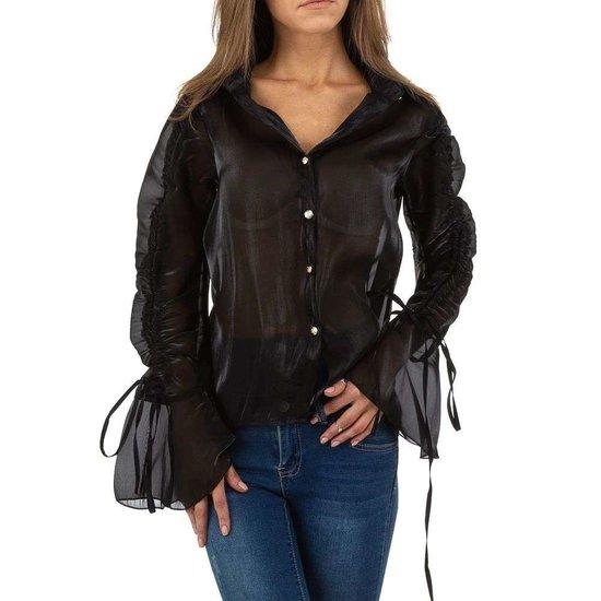 Trendy licht glanzende zwarte blouse