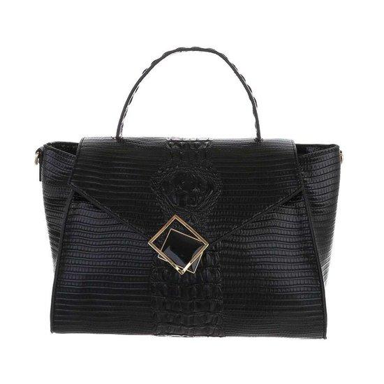 Classy zwarte schoudertas met designer embleem Model 1.