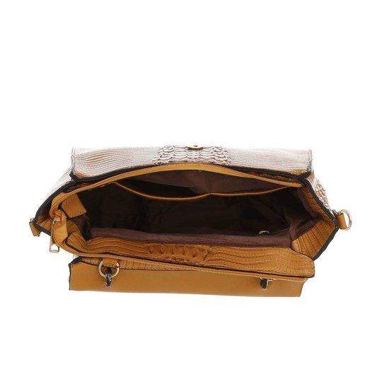 Classy bruine schoudertas met designer embleem Model 1.