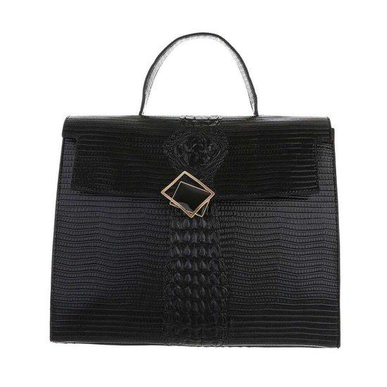 Classy zwarte schoudertas met designer embleem Model 2.