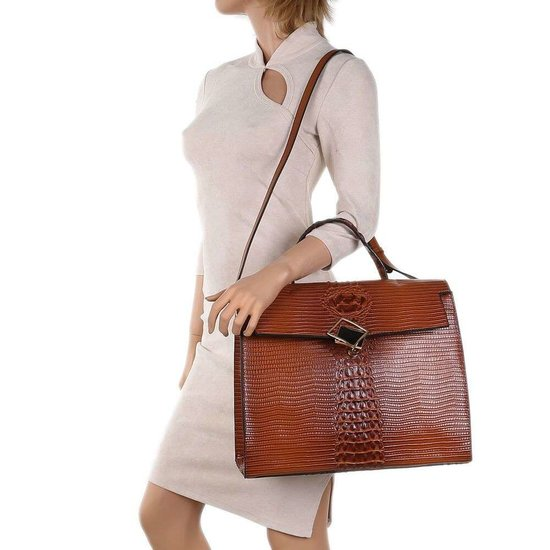 Classy bruine schoudertas met designer embleem Model 2.