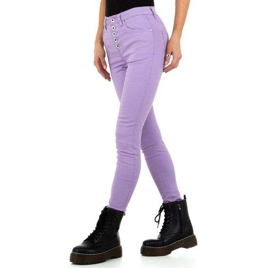 Trendy violet jeans.
