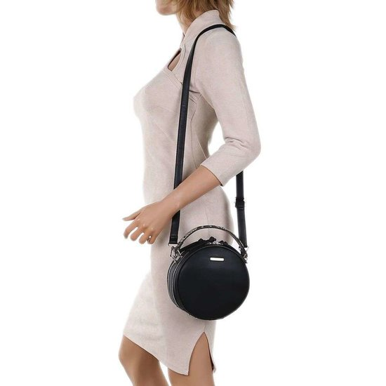 Trendy zwarte ronde schoudertas.