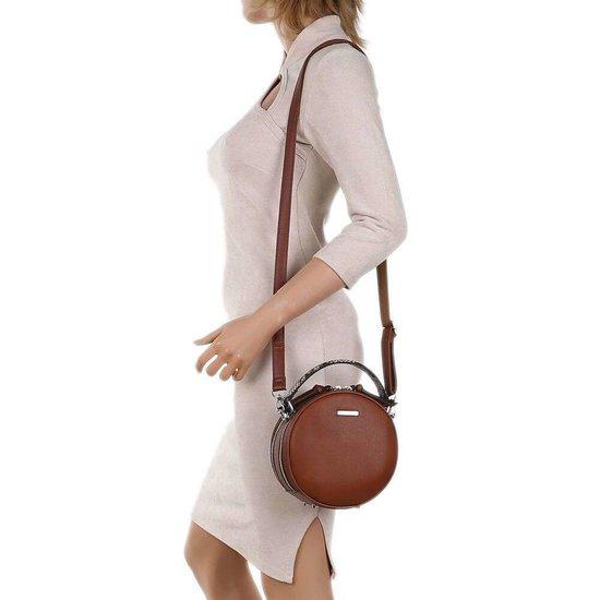 Trendy bruine ronde schoudertas.