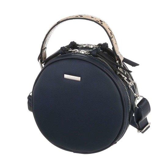 Trendy blauwe ronde schoudertas.