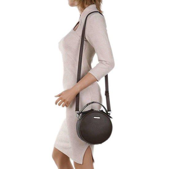 Trendy taupe ronde schoudertas.