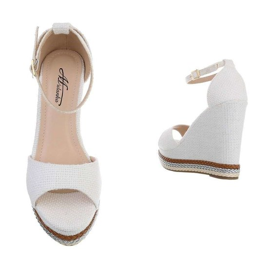 Modieuze witte wedge sandaal Maral