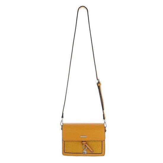Classy kleine rechthoekige gele schoudertas.