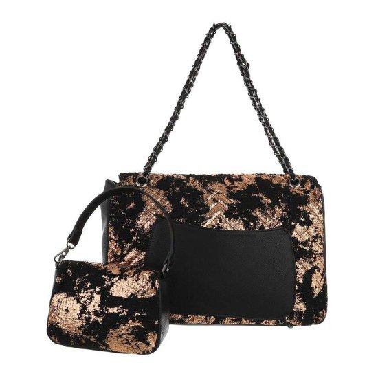 Fashion gouden schoudertas+extra kleine tas.