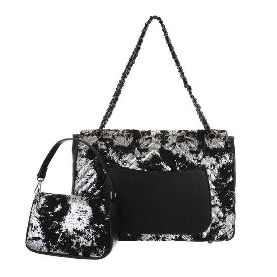 Fashion zwarte schoudertas+extra kleine tas.