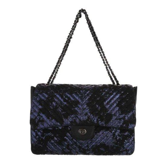 Fashion blauwe schoudertas+extra kleine tas.