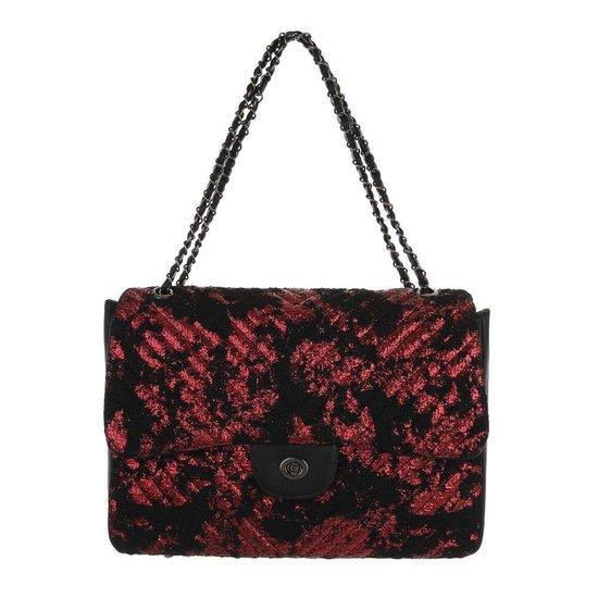 Fashion rode schoudertas+extra kleine tas.