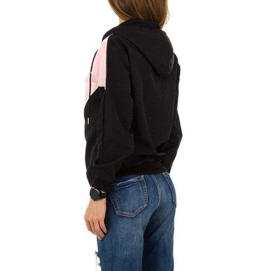 Casual zwart/roze sweater.
