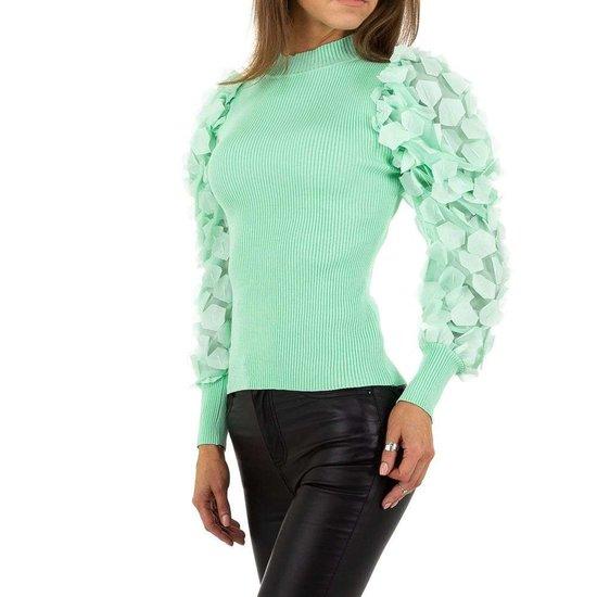 Trendy pastel groene pullover.