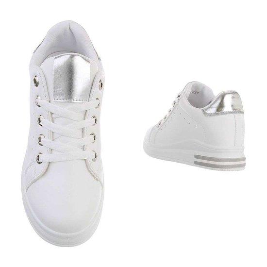 Casual wit/zilveren hoge sneaker Glena.SOLD OUT