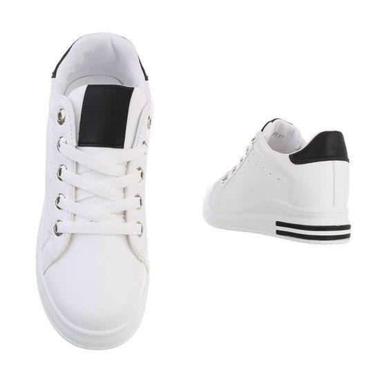 Casual wit/zwarte hoge sneaker Glena.