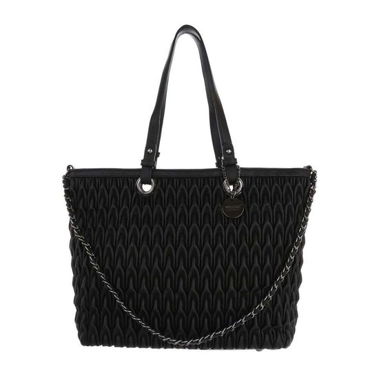 Trendy zwarte shopperbag met motief.