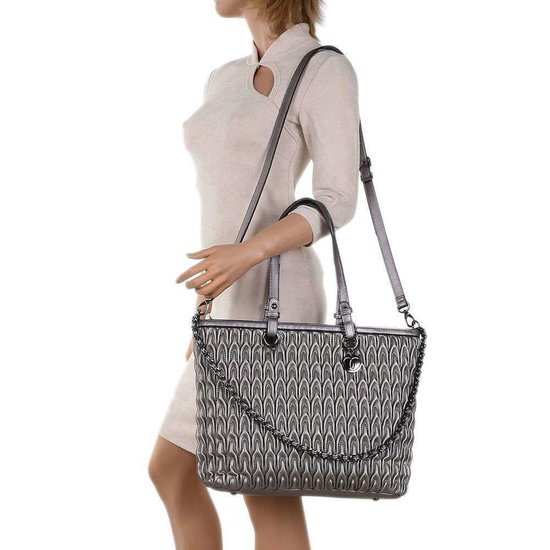 Trendy gunsmoke shopperbag met motief.