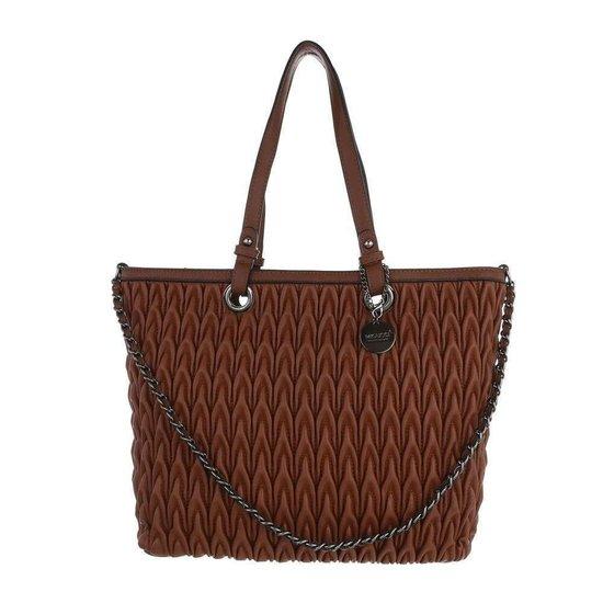 Trendy bruine shopperbag met motief.