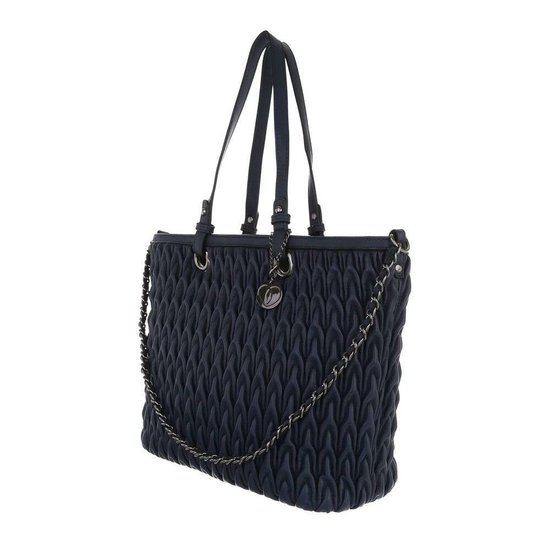 Trendy blauwe shopperbag met motief.