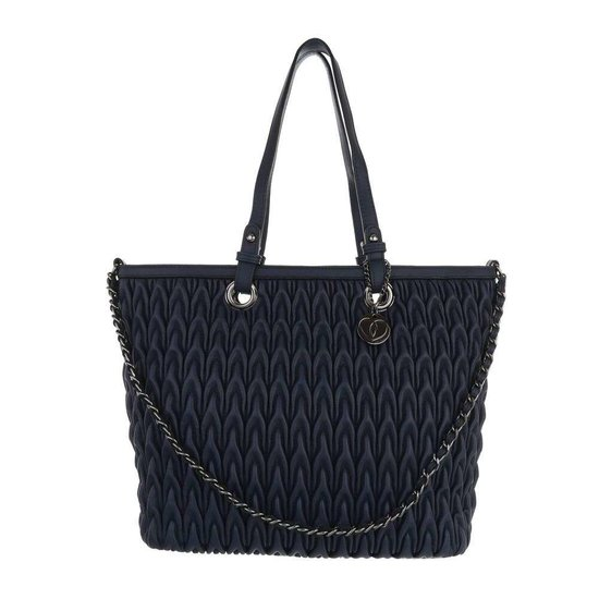 Trendy blauwe shopperbag met motief. SOLD OUT