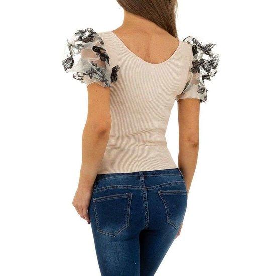 Trendy beige blouse/top.