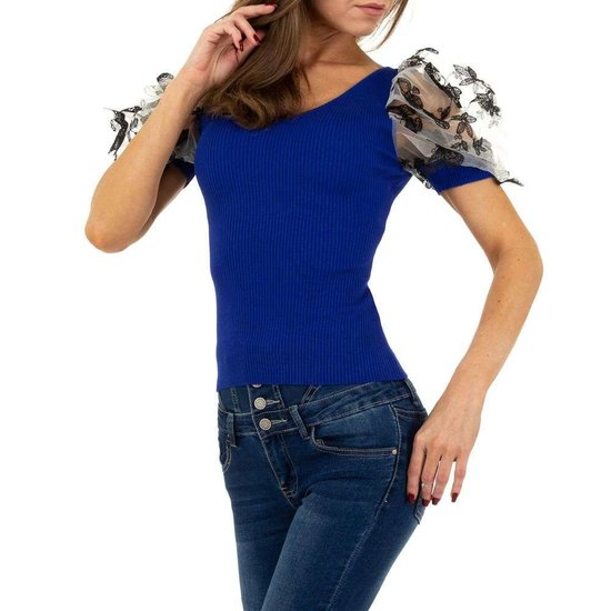 Trendy blauwe blouse/top.