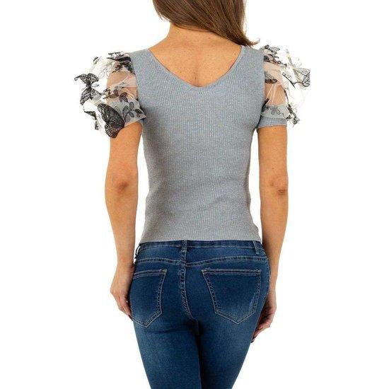 Trendy grijze blouse/top.