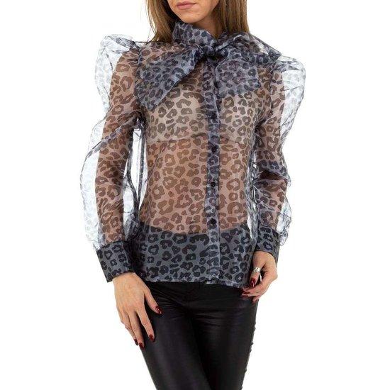 Stylish grijze doorzichtige blouse.