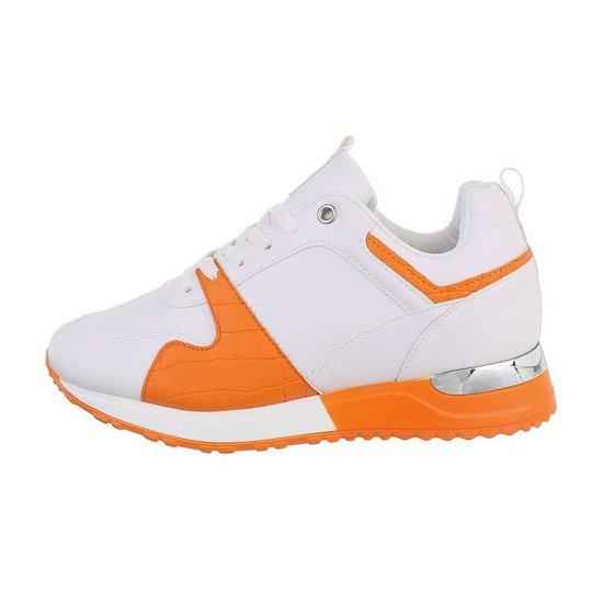 Trendy witte/oranje sneaker Naomi.