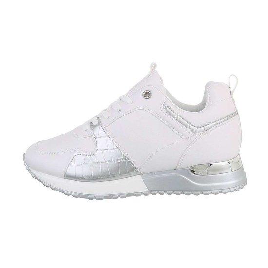 Trendy witte/zilveren sneaker Naomi.