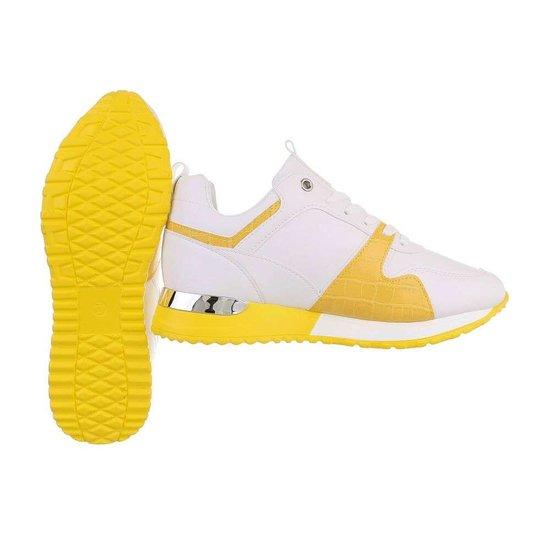 Trendy witte/gele sneaker Naomi.