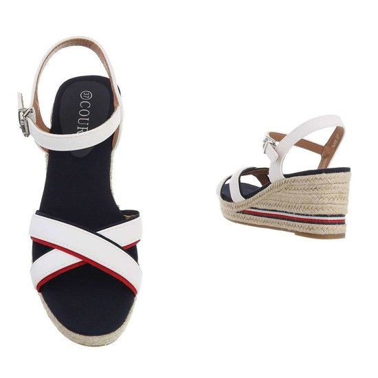 Elegante wite mix halfhoge sandaal Sabine.