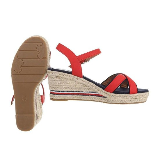 Elegante rode mix halfhoge sandaal Sabine.