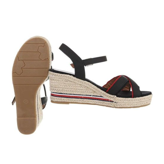 Elegante zwarte mix halfhoge sandaal Sabine.