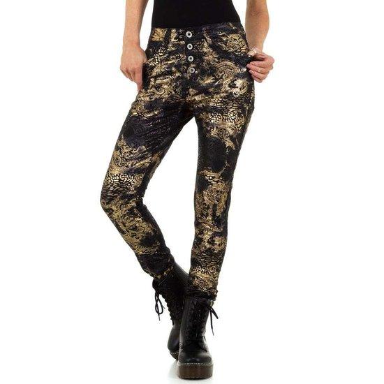 Fashion zwarte-gouden jeans.