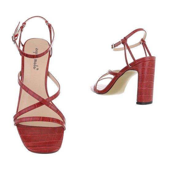 Stylisch rode hoge sandaal Lizet.