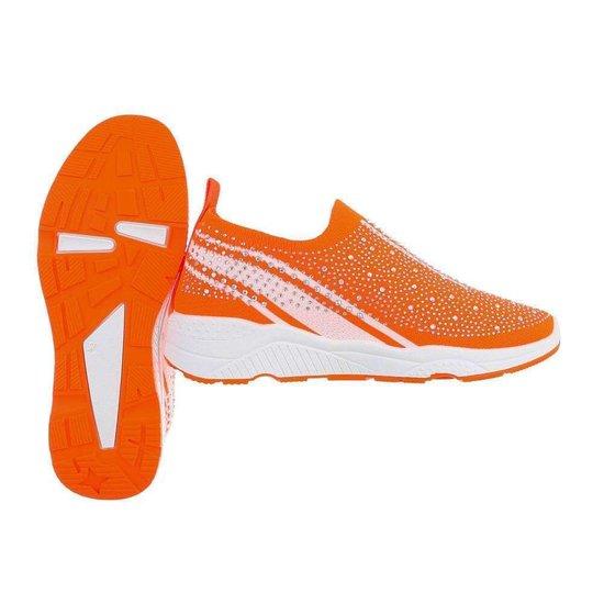 Oranje lage step in sneaker Lize.