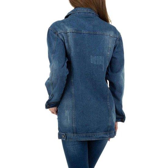 Trendy jeans jas met beige afneembare pels.