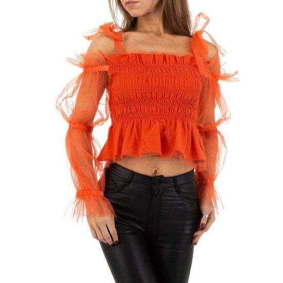 Casual rood/oranje crop top.